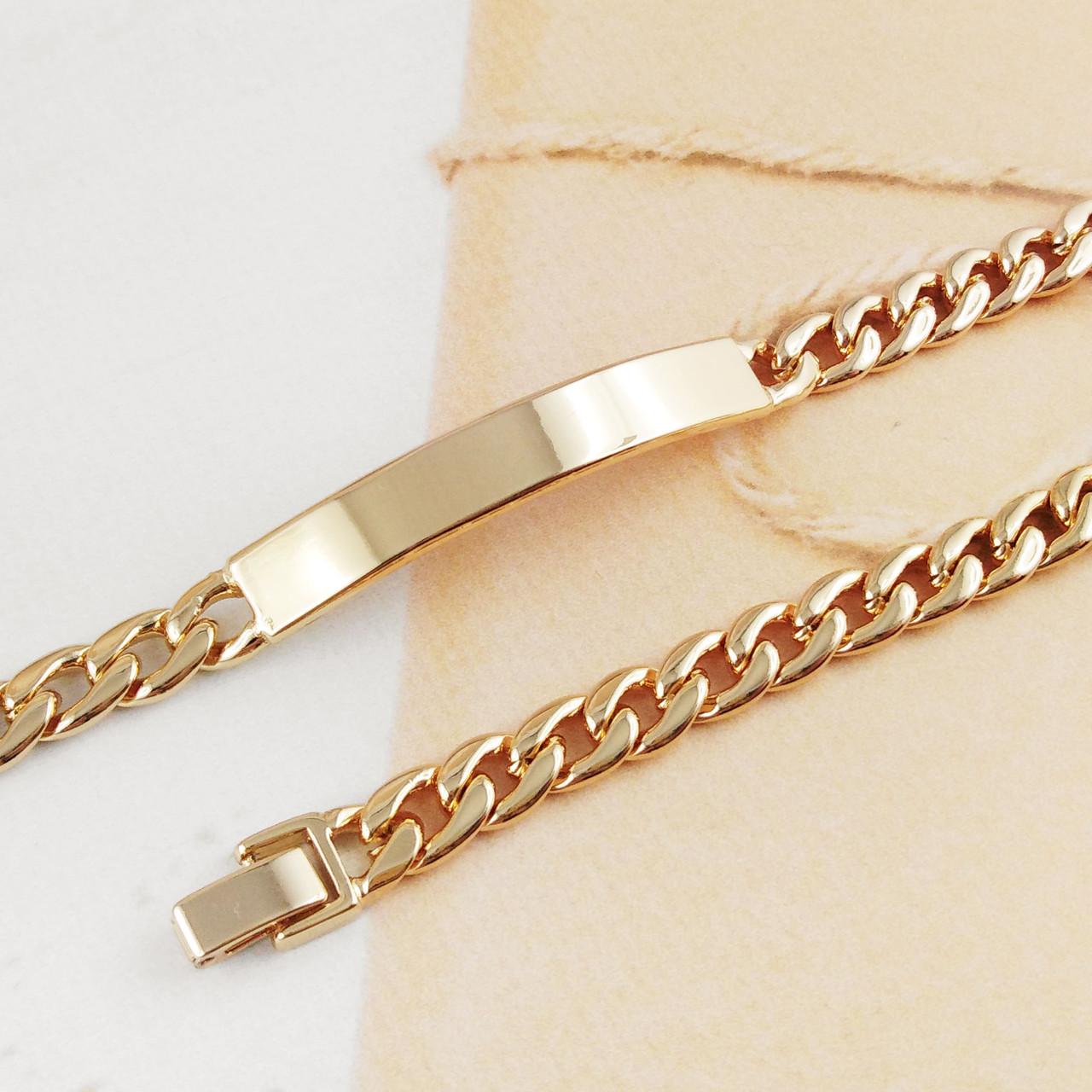 Браслет Xuping Jewelry 20 см х 7 мм Панцирное плетение с пластиной медицинское золото, позолота 18К А/В 4471