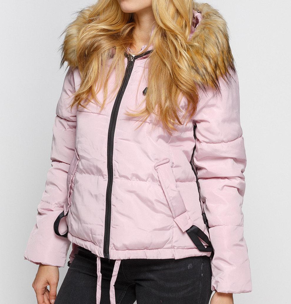 Куртка зимняя женская короткая, пуховик, цвет розовый  размер 44 (XL) CC-8482-30