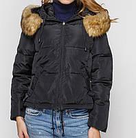 Куртка зимняя женская короткая, черный пуховик 42 (L)  44 (XL)  CC-8482-10