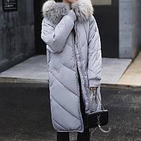 Куртка зимняя женская серая, длинный пуховик  СС-8486-75