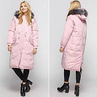 Парка зимняя женская с мехом, розовая длинная куртка с мехом  СС-8500-30
