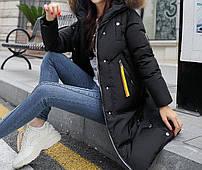 Куртка зимняя женская черная, длинный пуховик   СС-8492-10