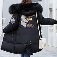 Куртка зимняя женская черная, длинный пуховик размер 46 (XXL) СС-8494-10