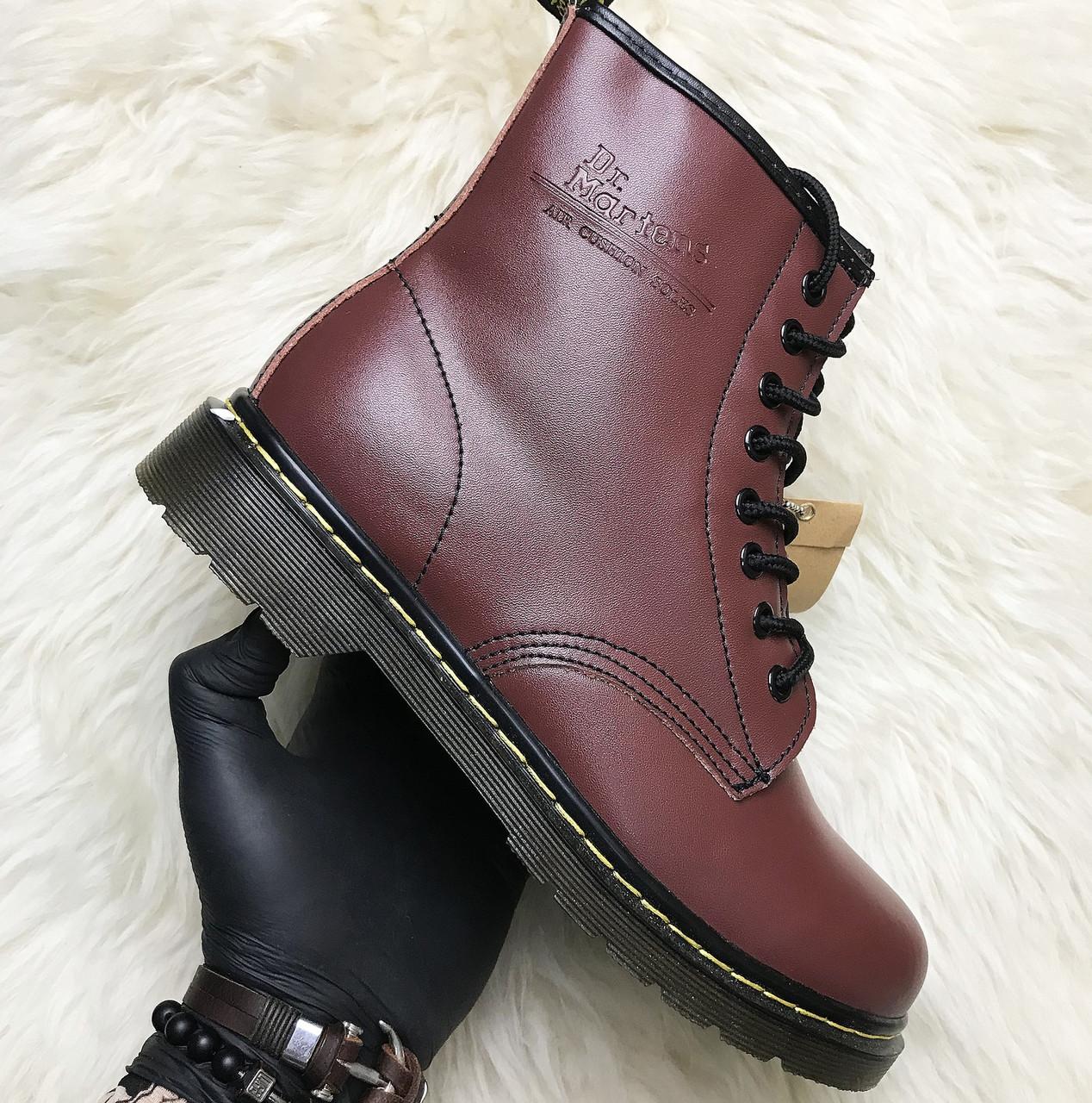 Женские зимние ботинки Dr. Martens 1460 Bordo с мехом