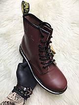 Женские зимние ботинки Dr. Martens 1460 Bordo с мехом, фото 2
