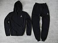 Мужской спортивный костюм Jordan черный (ЗИМА) с начесом, толстовка маленькая эмблема, штаны реплика
