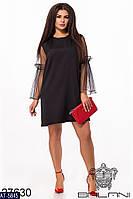 Батальное нарядное платье с прозрачными рукавах арт 7101