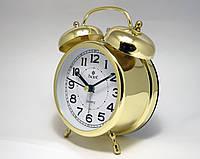 Часы будильник стальные  PACIFIC  золотистые (классика жанра), фото 1