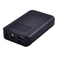 Power Bank JS-10X FAST CHARGING 10000mAh 2USB(1A+2A)+1Micro USB+ 1Type-C цифровой дисплей, фонарик 1LED (3600mAh)