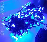 """Светодиодная гирлянда """"Рис/Конус/Иголка"""" 200 Led 13.5 м, цвет Синий 8 режимов, черный провод, фото 1"""