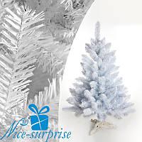 Новогодняя белая искусственная елка ЛЕСНАЯ из ПВХ плёнки 100 см