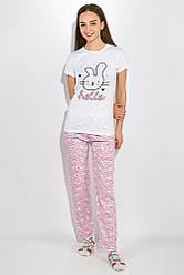 Пижама женская 317F025 (Бело-розовый) L