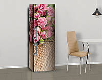 Магнитная наклейка на холодильник Пушистые Розы на деревянном фоне, виниловый магнит, 600*1800 мм, Лицевая