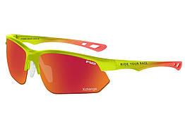 Окуляри велосипедні R2 DROP REVO Green-red AT099D, КОД: 1192676