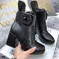 Ботинки женские с брошью Зима 594