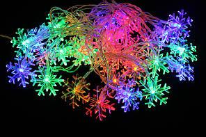 Новогодняя LED гирлянда с 20 лампочками в виде снежинок