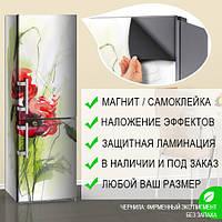 Магнитная наклейка на холодильник Нарисованные карандашом Маки, виниловый магнит, 600*1800 мм, Лицевая