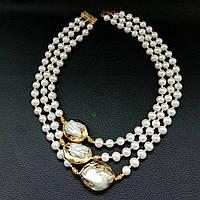 Ожерелье из Натурального речного барочного ЖЕМЧУГА (барокко) белого  цвета