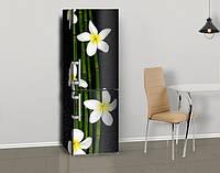 Магнитная наклейка на холодильник Бамбук и белые цветы, виниловый магнит, 600*1800 мм, Лицевая