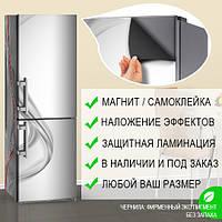 Магнитная наклейка на холодильник Серый шелк льется Абстракция, виниловый магнит, 600*1800 мм, Лицевая