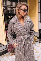 Женское зимнее пальто на запах с поясом на морозы до -20