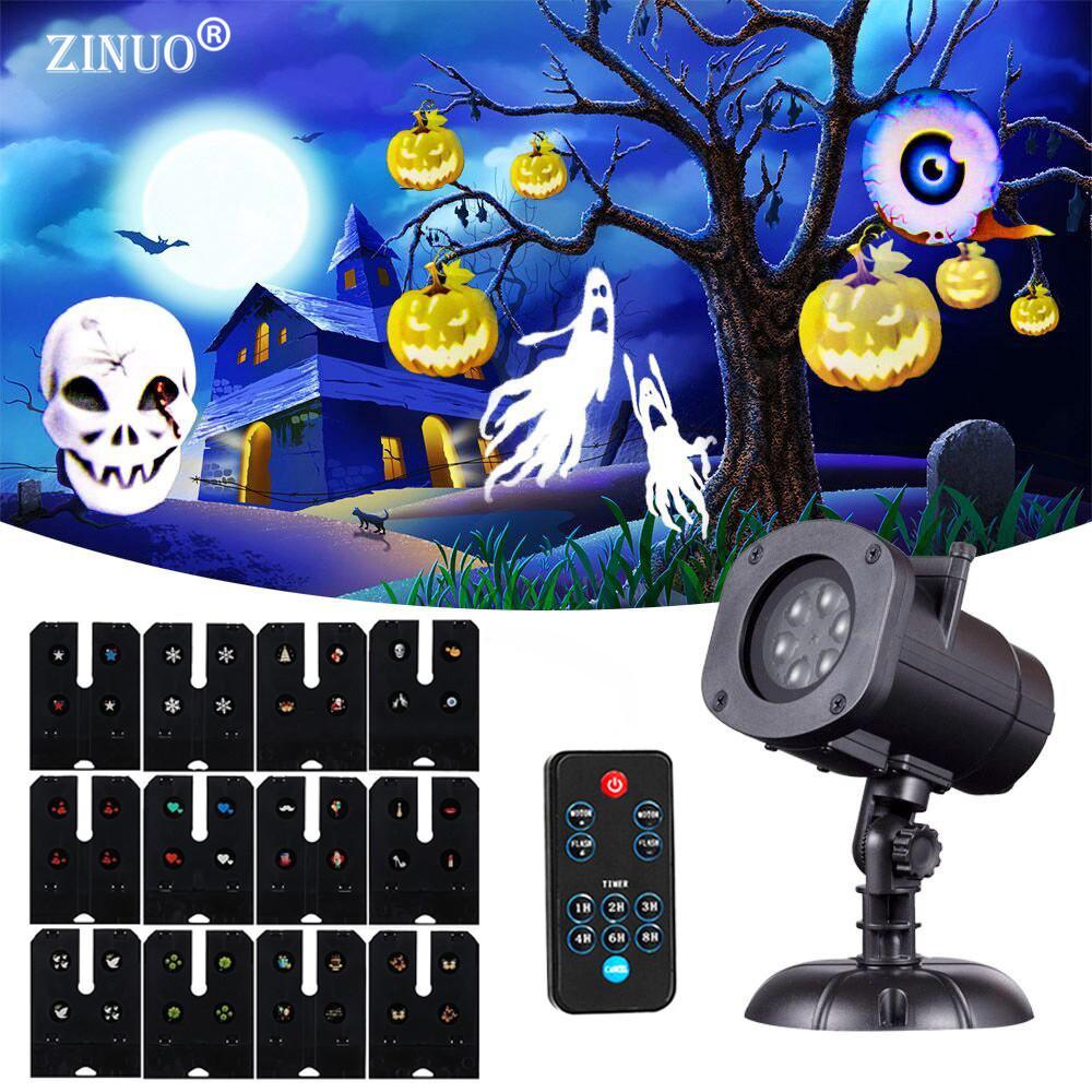 Декоративный уличный лазерный LED проектор halloween 12 картриджей