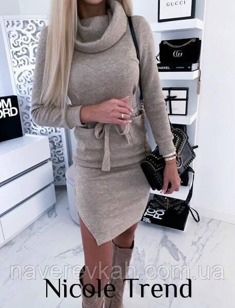 Женское зимнее теплое платье ангора шелк серое бежевое 42-44 44-46, фото 1