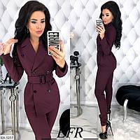 Женский осенний костюм костюмка черный кофе хаки красный бордо S-M L-XL