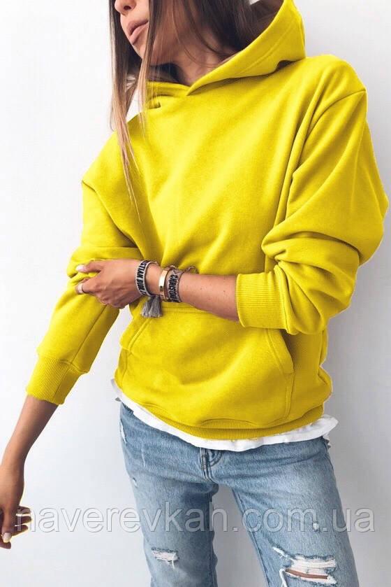 Женский зимний теплый свитшот на флисе хаки кэмел чёрный белый меланж пудра желтый оранж 42-46