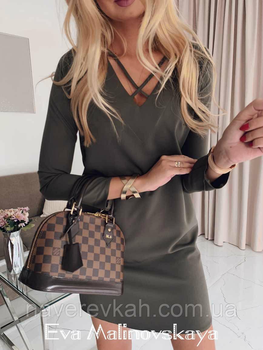 Женское осеннее платье костюмка хаки черное 42-44 44-46
