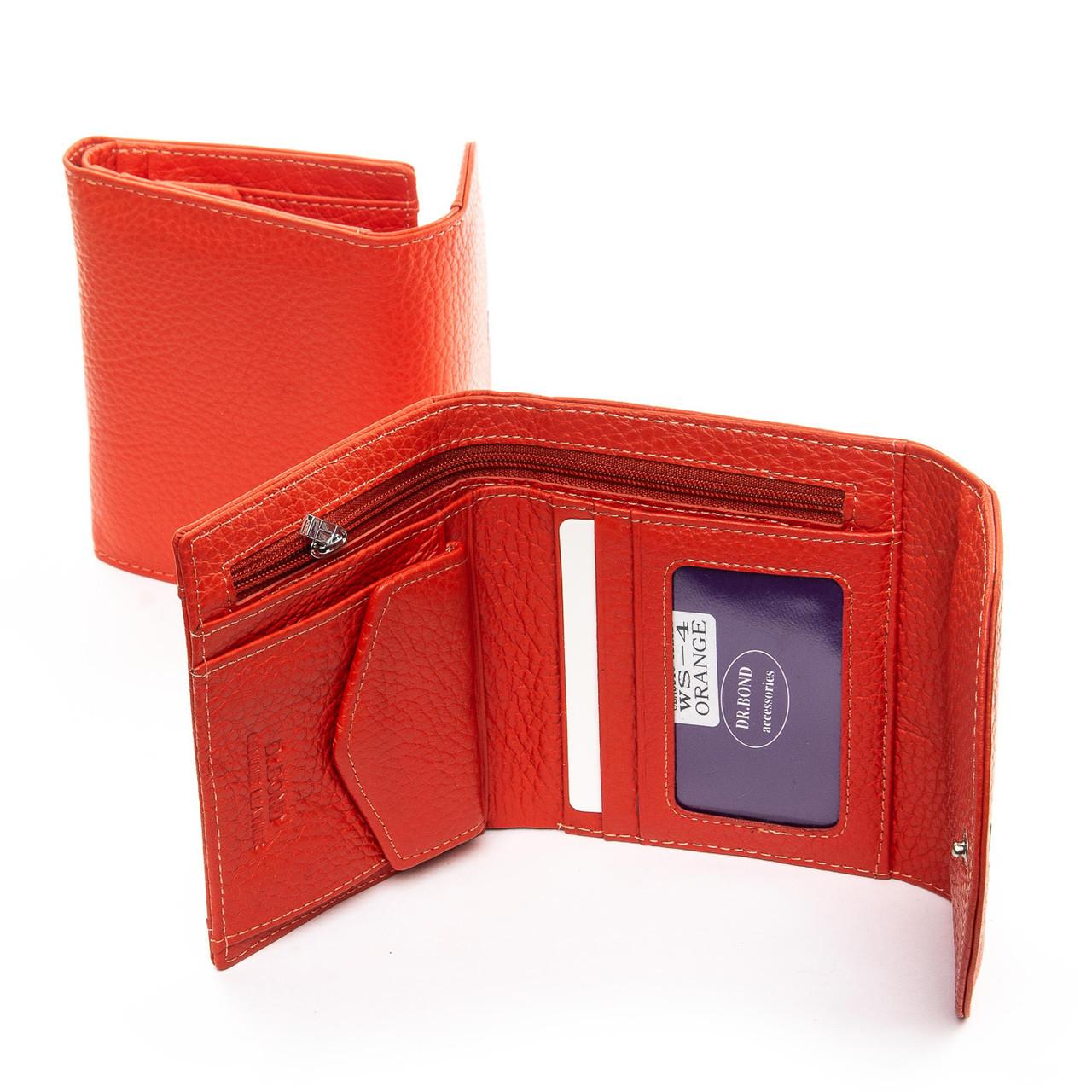 Гаманець на кнопці, колір - помаранчевий, Classic шкіра DR. BOND (WS-4 orange)