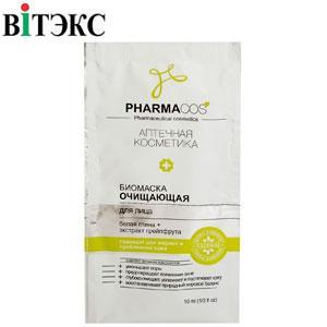 Витэкс - PharmaCos 10мл Биомаска для лица Очищающая с белой глиной, экстрактом грейпфрута 1шт
