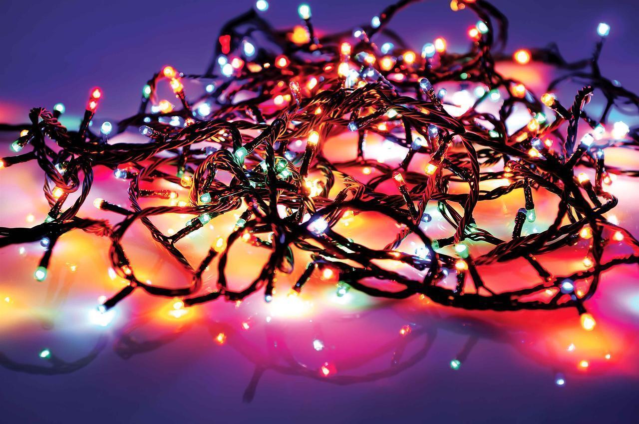 Гирлянда Нить электрическая 100 lamp, мульти, чёрный провод, 3,3м.