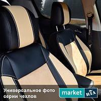 Чехлы на сиденья Hyundai ix35 (Tucson ix) из Экокожи и Алькантары (Союз АВТО), полный комплект (5 мест)