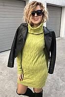 Трикотажное платье реглан с хомутом P-M - салатовый цвет, M/L (есть размеры)