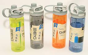Бутылка 600 мл  пластик с  поилкой и трубочкой T144-27