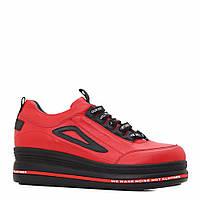 Туфлі на платформі, колiр червоний