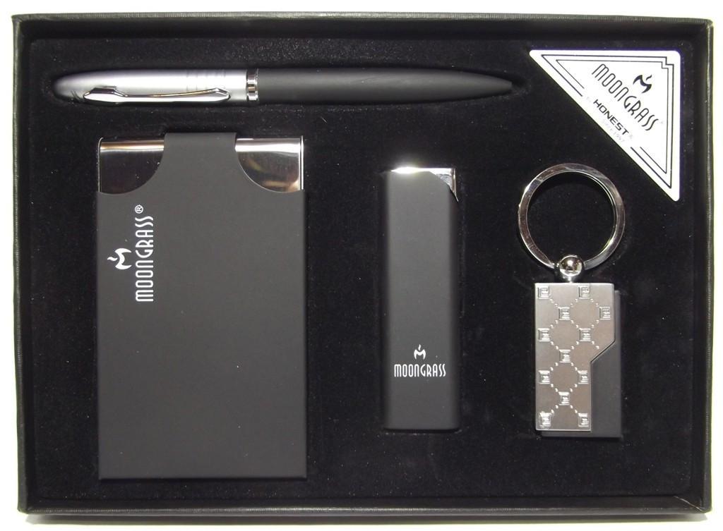 Подарочный набор MOONGRASS: ручка + брелок + визитница + зажигалка MTD-21