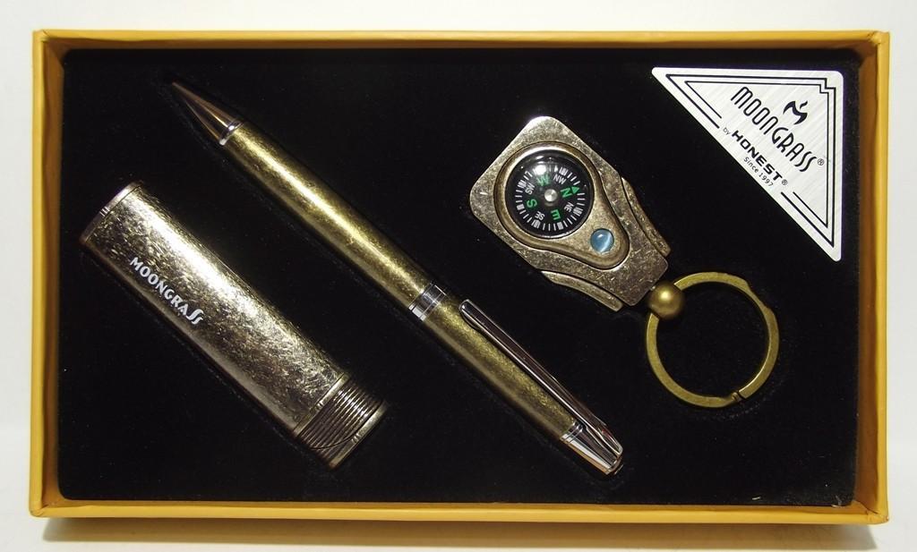 Подарочный набор MOONGRASS: ручка + брелок + зажигалка (старая бронза) MTC-97