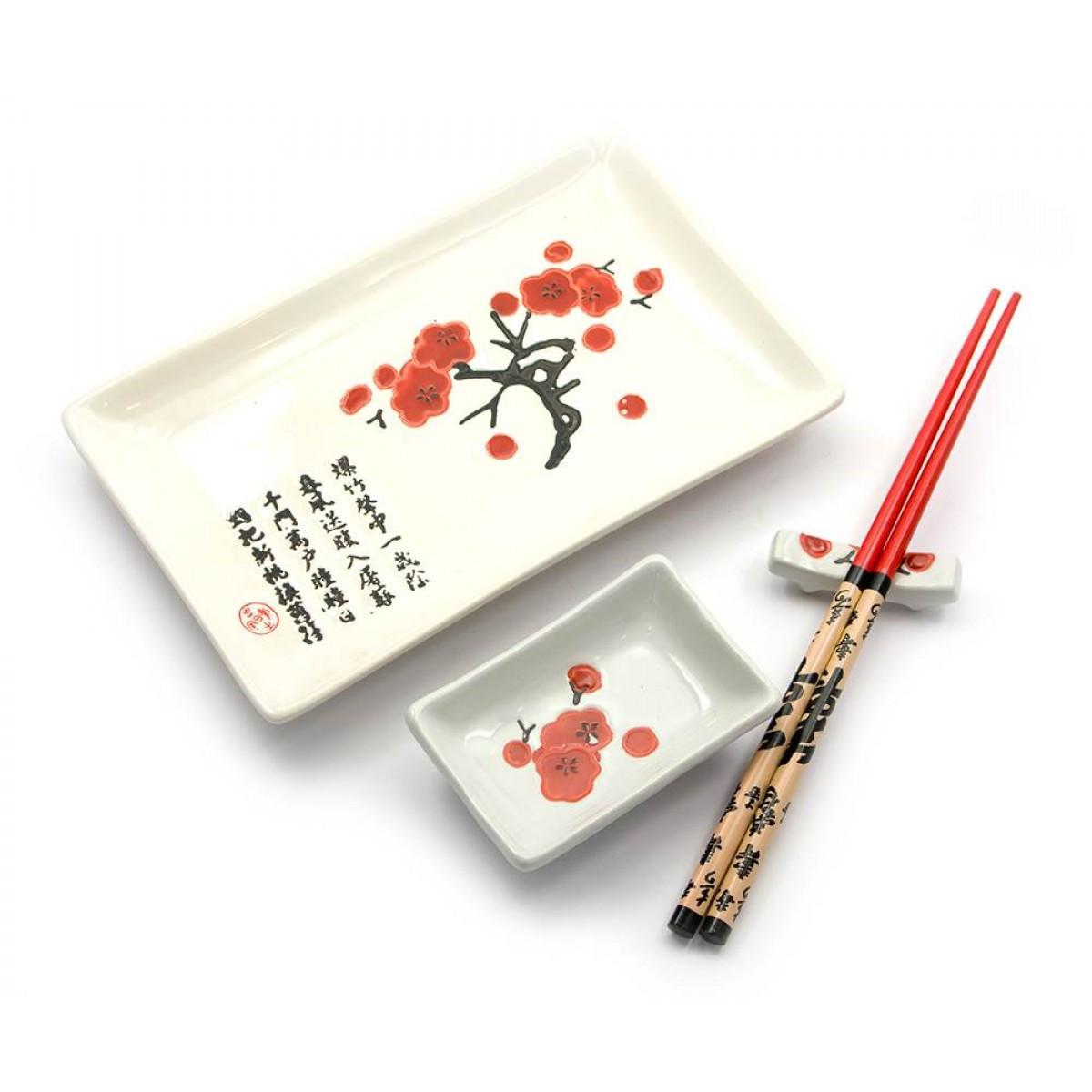 Сервиз для суши Белый с сакурой(28х14 см)(1 персона)