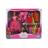 Кукла с нарядом, платье 9шт, фен, обувь