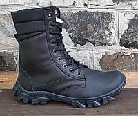 Ботинки берцы зимние из натуральной кожи и меха черная кожа сприн зима