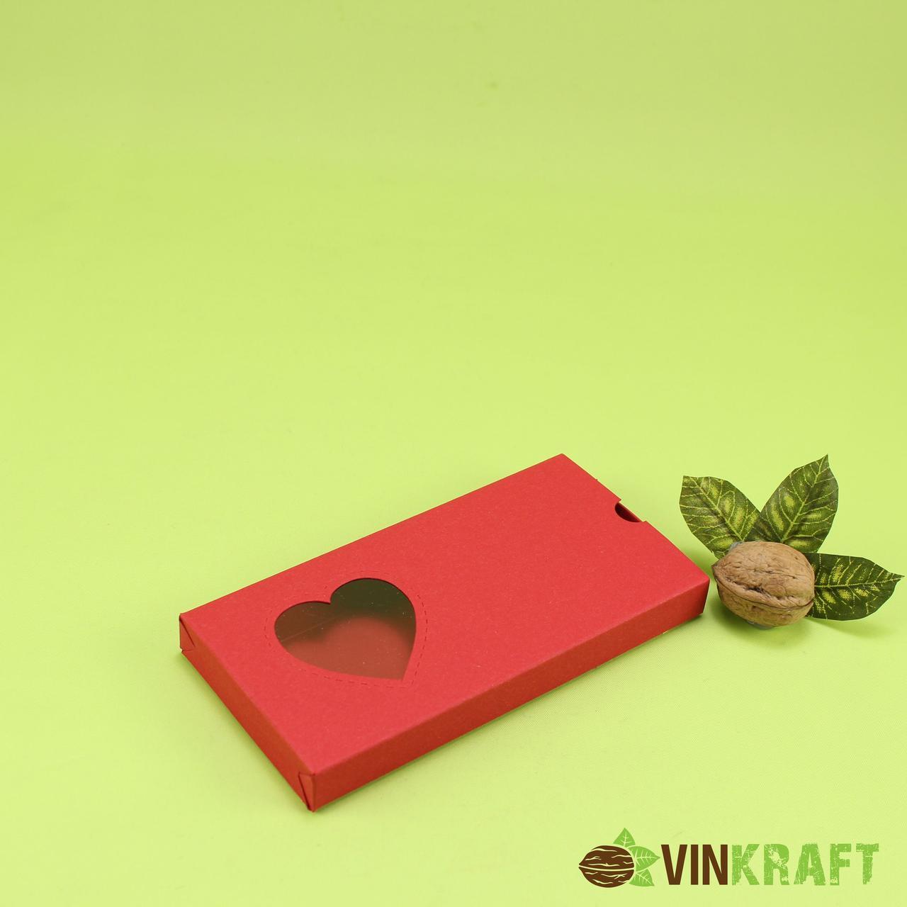 "Коробка 160*80*17 для шоколадки ""Сердечко"", червона"