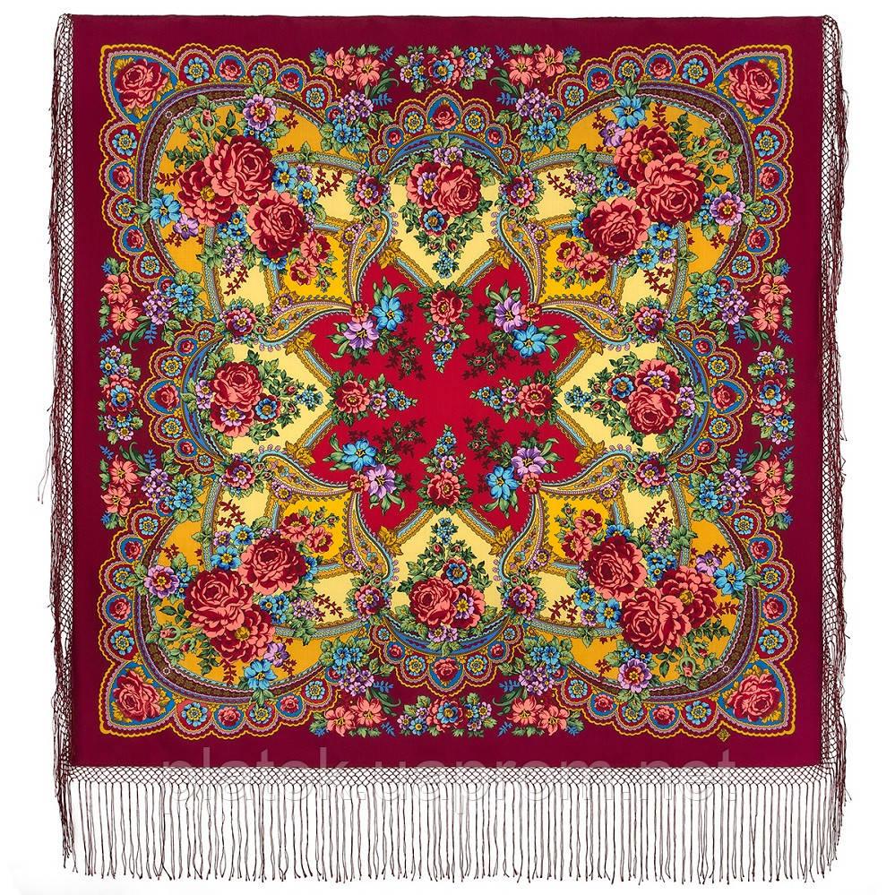 Времена года. Лето. 707-6, павлопосадский платок (шаль) из уплотненной шерсти с шелковой вязаной бахромой