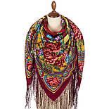 Времена года. Лето. 707-6, павлопосадский платок (шаль) из уплотненной шерсти с шелковой вязаной бахромой, фото 2