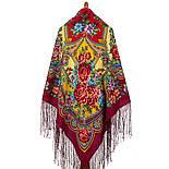 Времена года. Лето. 707-6, павлопосадский платок (шаль) из уплотненной шерсти с шелковой вязаной бахромой, фото 3