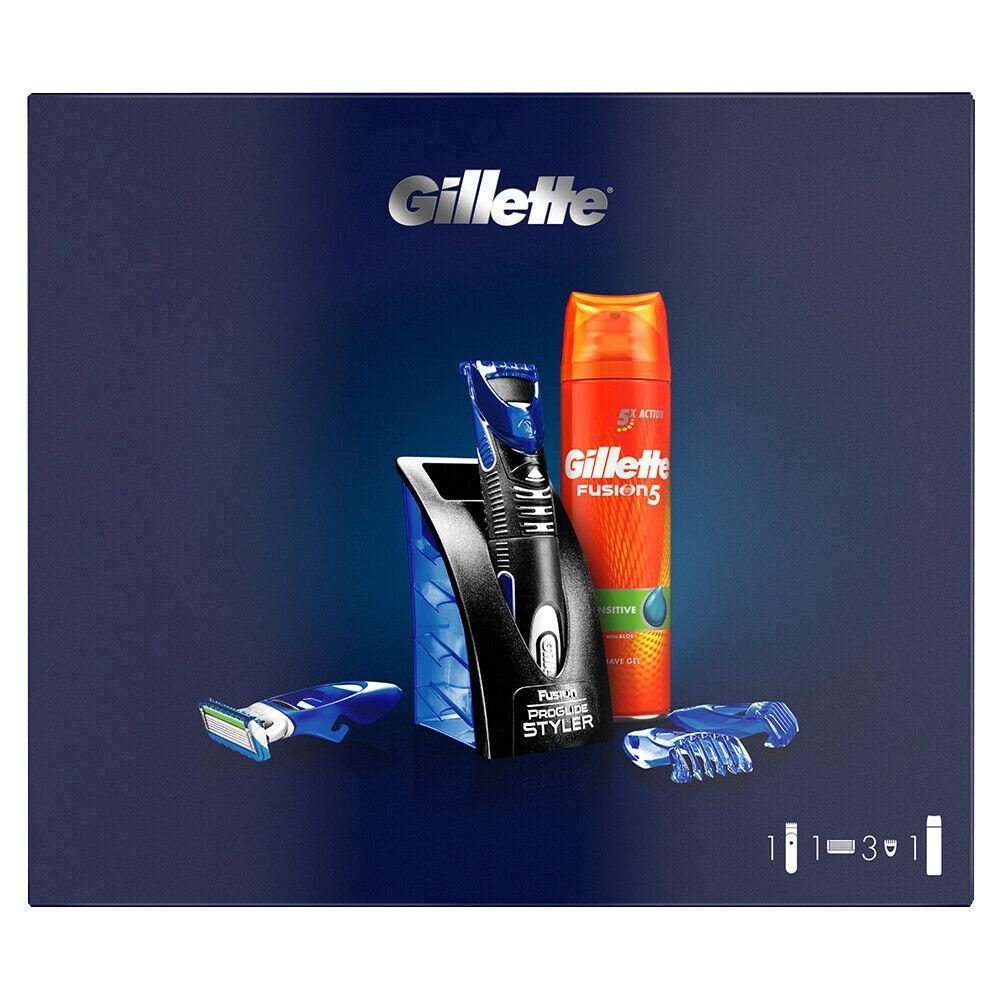 Подарочный набор Gillette Fusion ProGlide Styler (1 кассета ProGlide Power + 3 насадки + подставка+гель) 01200