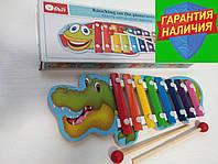 Деревянная игрушка Музыкальный ксилофон 8 тонов Крокодил