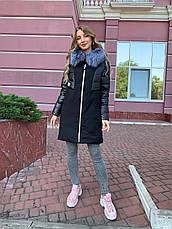 Зимнее женское пальто  с натуральным мехом чернобурки, фото 2