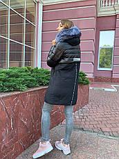 Зимнее женское пальто  с натуральным мехом чернобурки, фото 3